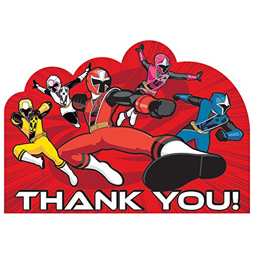 Dino Charge Birthday Party Postcard Thank You Cards (8 Piece), Multi ()