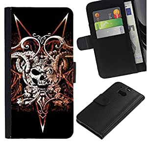 Stuss Case / Funda Carcasa PU de Cuero - Los cuernos del cráneo del diablo Muerte Pentagram - HTC One M8