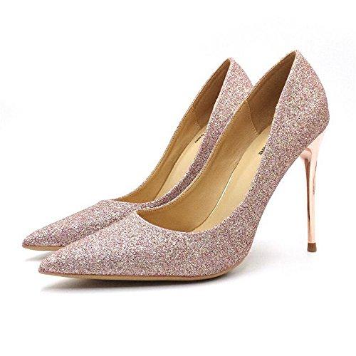 scarpe sposa da con sposa belle Qiqi femminili sposa singole Scarpe Scarpette scarpe rosa scarpe oro tacchi scarpe da da da punta 39 Xue a femminili alti 10CM sposa zwv1w