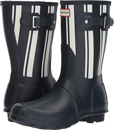 Hunter Original Womens Short Boots Navy Garden Stripe White Rain zzvqrOw