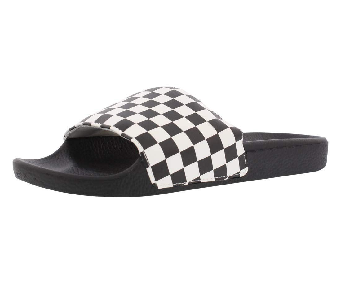 442c4c7ae7c4 Galleon - Vans Unisex Checkerboard Synthetic Leather Slide Black White-White -8