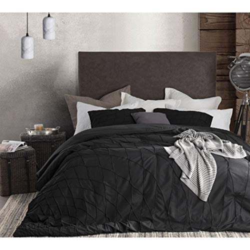 (ON 3 Piece Black Solid Textured Pattern Comforter King Set, Beautiful Luxurious Pintuck Diamond Shape Geometric Design Bedding, Classic Contemporary Style, Ultra-Soft & Comfy, Microfiber, for Unisex)