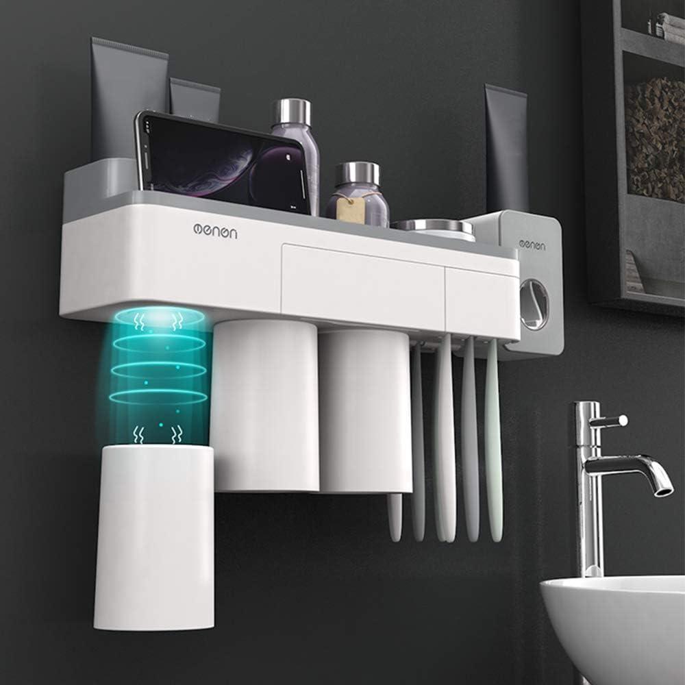Weehey Menen Toothbrush Rack Wall Mounted Toothbrush Holder Toothbrush Cup Organizer Toothbrush Slots Toothbrush Storage Rack for Washroom Bathroom