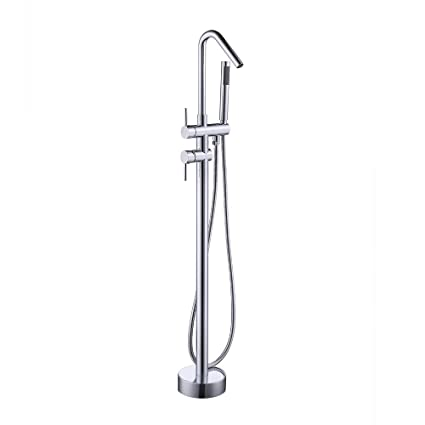 KES Brass Freestanding Bathtub Faucet   Floor Mounted Bath Tub Filler  Faucets With Hand Held Shower