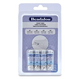 Beadalon Crimp Tube Variety Pack #1-4 Silver, Plated, 600-Piece
