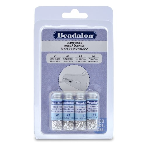 Artistic Wire 305B-121 Beadalon Crimp Tube Variety Pack #1-4 Silver, Plated, 600-Piece (Jewelry Beads Tube)