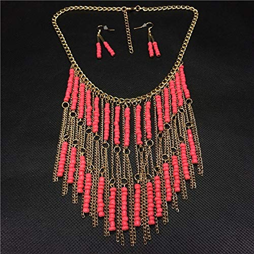 Lindsie-Box - Bohemian Multi-layered Tassel Beaded Statement Necklace Women Exaggerated Jewelry Set Accessories Resin Necklace Earring