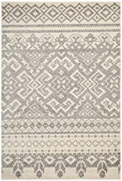 Safavieh Adirondack Collection ADR107B Ivory and Silver Rustic Bohemian Area Rug (6\' x 9\')