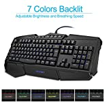 TeckNet Heavy Duty Ergonomic Backlit LED Illuminated Anti-ghosting USB Wired PC Computer Gaming Keyboard with Waterproof Design, 7 Colors, US Layout