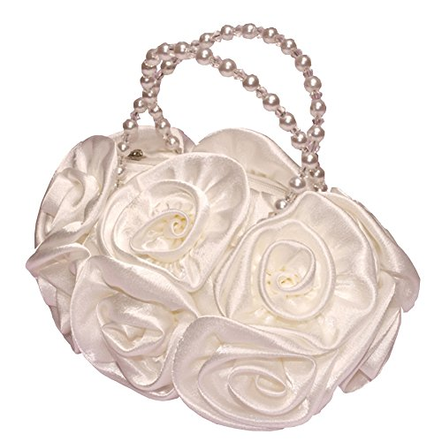 Beaded Flower Tote - Dressy Daisy Girls' Satin Rosettes Pearls Purse Tote HandBag Wedding Flower Girl Ivory