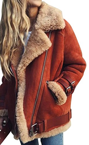 Oberora-Women Winter Warm Zipper Belted Suede Lamb Wool Coat Shearling Jacket Red S