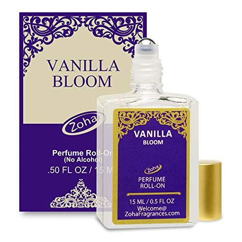 Vanilla Bloom Perfume Oil Roll-On (No Alcohol) Vanilla Oil Fragrance - Essential Oils and Perfumes for Women and Men by Zoha Fragrances, 15 ml / 0.50 fl Oz