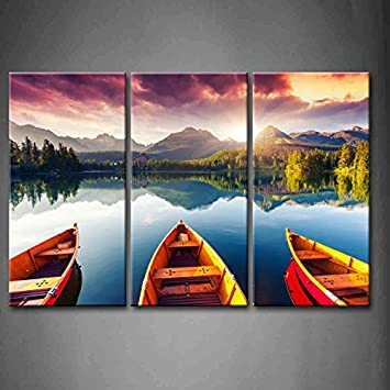 3 Panel Wall Art Mountain Lake Sunset Three Boats Trees Painting The  Picture Print On Canvas