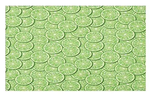 Lunarable Food Doormat, Bunch of Sliced Limes Background Yummy Fruit Fresh Tropical Vitamin Picture Print, Decorative Polyester Floor Mat with Non-Skid Backing, 30 W X 18 L Inches, Fern Green