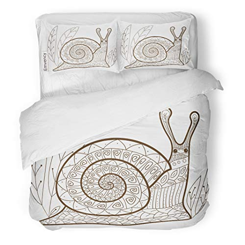 Semtomn Decor Duvet Cover Set Full/Queen Size Adult Coloring Page Cute Snail Whimsical Line for Colouring 3 Piece Brushed Microfiber Fabric Print Bedding Set Cover ()