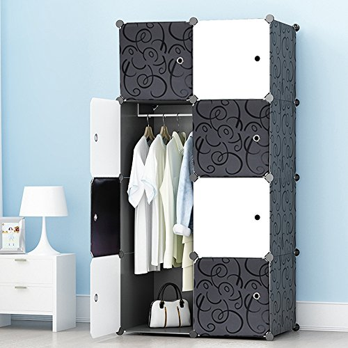 MEGAFUTURE Portable Wardrobe Closet for Hanging Clothes, Combination Armoire, Modular Cabinet for Space Saving, Ideal Storage Organizer Cube for Books, Toys, Towels(8-Cube) ()