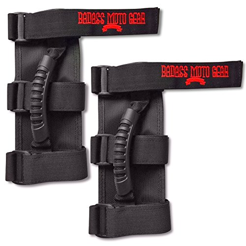 Badass Moto Gear Grab Handle Set for Jeep Wrangler Roll Bar 2 Pack. The Jeep Accessory With Attitude - Adjustable Fit -Triple Banded for Security. Also Fits Unlimited, Sahara, Rubicon, CJ, JK, TJ,