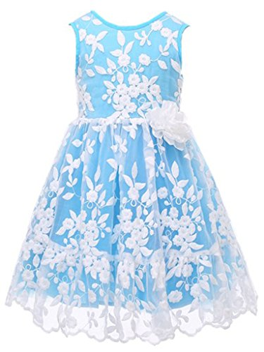 Bow Dream Rustic Flower Girl Dress Bridesmaid Lace Aqua -