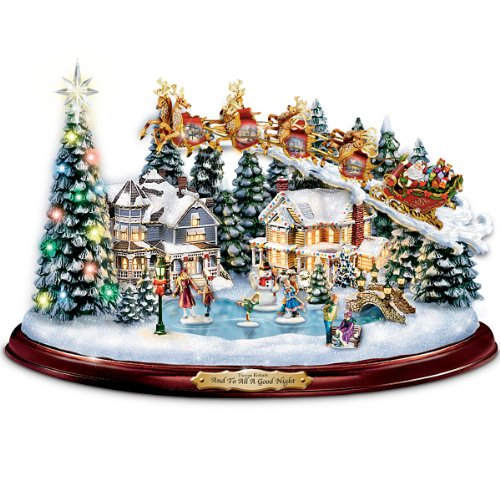 Thomas Kinkade And To All A Good Night Christmas Sculpture by The Bradford Exchange (Christmas Thomas Kinkade Village)