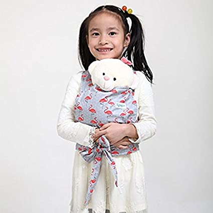 Baby Doll Carrier Mei Tai Sling Toy For Kids Children Toddler Front Back, Mini Carrier, Birthday Christmas Gift (Cloud) CN