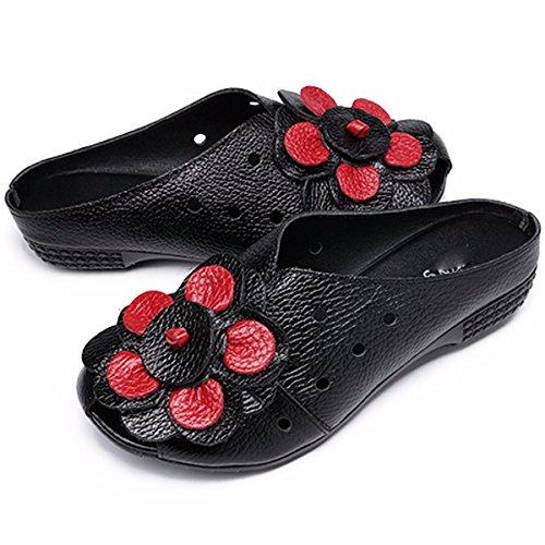 Tallone Di Estate Le Pantofole Fico I Basso GTVERNH Scarpe Fiori Baotou Madre gules Di Età Mezza qdXIwnB