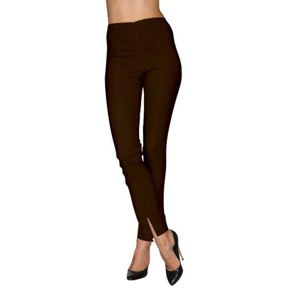 Mesmerize Slit Ankle Length Cigarette Pants in Brown (6 Regular)