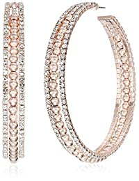GUESS W/Stones Hoop Earring, Rose Gold, One Size