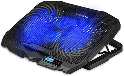 """Yellow-Price Laptop Cooling Pad 5 Fans Up to 17.3 Inch Heavy Notebook Cooler, Blue LED Lights (4 Blue Fans w/LED Display - 12"""" to 16.3"""" Laptop)"""