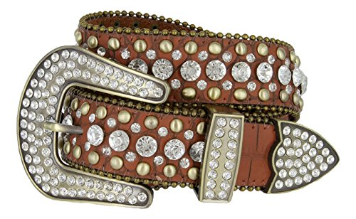 Women's Western Cowgirl Rhinestone Studded Leather Belt 1-1/2