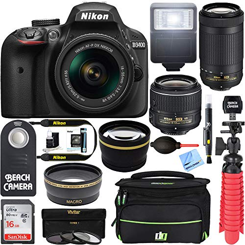 Nikon D3400 24.2MP DSLR Camera with 18-55mm VR and 70-300mm Dual Lens (Black) (Renewed)