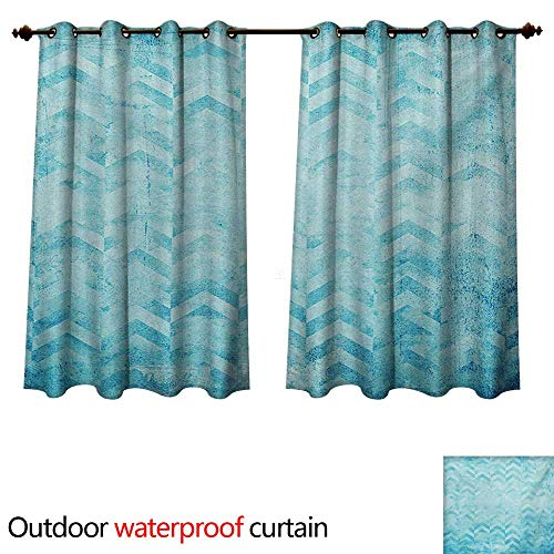 WilliamsDecor Turquoise Home Patio Outdoor Curtain Geometric Design Chevron Patterns on Old Vintage Paper Contemporary Art Print W72 x L72(183cm x 183cm)