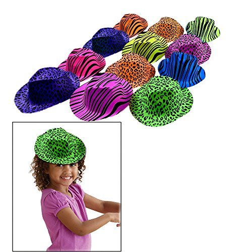 Hats - 24 Animal Printed Design Gangster Neon Colored Costume Accessory. ()