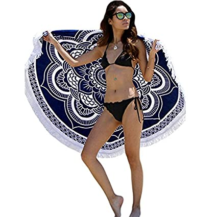 Amazon.com  Fengtu Tassel Oversized Round Beach Cushion Women s Yoga ... 1e356950c5