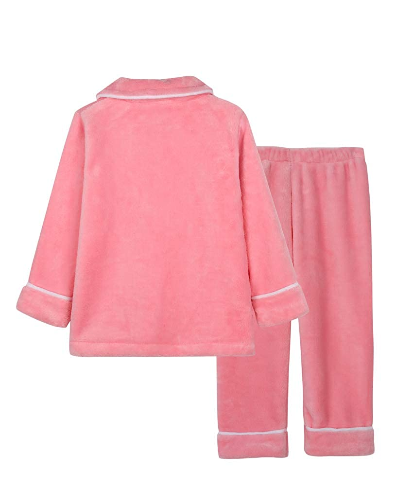 Horcute Girls Boys Two-Piece Flannel Top and Pants Pajamas Sets