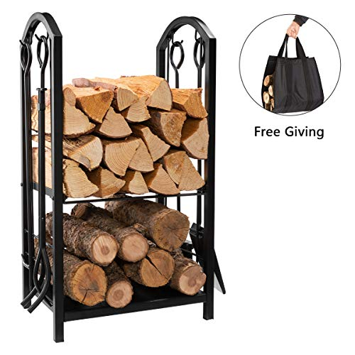 DOEWORKS All-in-One Heavy Duty Hearth Firewood Rack with Fireplace Tools Set, 18