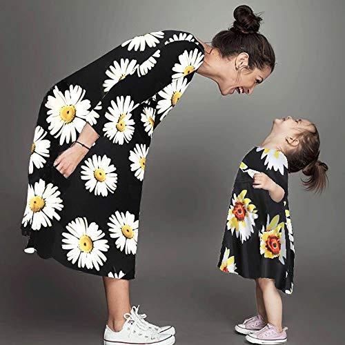 donna Aderente Ragazza Sera Famiglia mammina Manica Figlia Rawdah Vestiti accoppiamento Abiti Signora SunDress lunga da Donne Giallo Girasole EqwIp