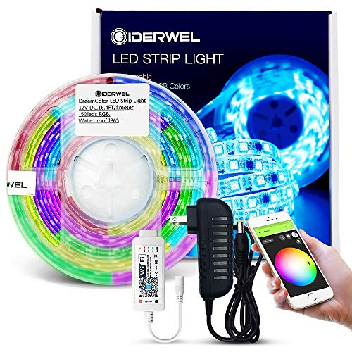 GIDERWEL Home Smart DreamColor LED Strip Lights RGB Kits with WiFi Wireless LED Music Controller Work with Alexa,Google Assistant,APP,Voice Control Addressable Flexible Strip,No HUB Required