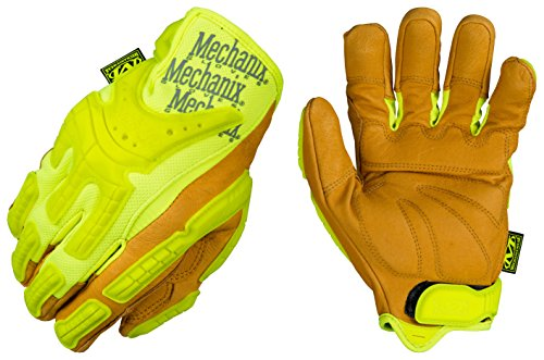 Mechanix Wear - CG Leather Hi-Viz Heavy Duty Gloves (Large, Brown/Fluorescent Yellow)