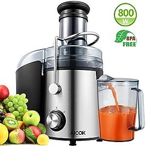 Centrifuga Frutta e Verdura, Aicok 800W Estrattore di Succo a Freddo con 75MM Bocca Larga, Centrifuga in Acciaio Inox a Doppia Velocità con Funzione Antigoccia, Facile Pulizia, Senza BPA - 2021 -