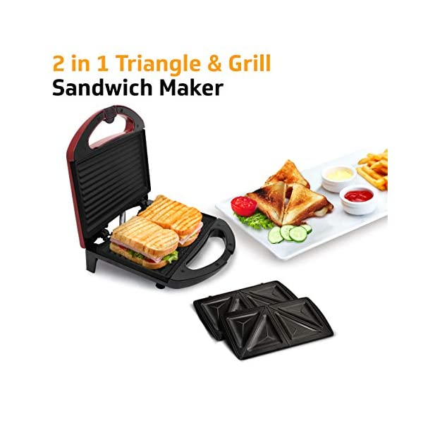 V-Guard VSX75 2 in 1 Grill and Triangle Sandwich Maker/Toaster with Changeable Plates (750 W, Candy Red) 2021 July INTERCHANGEABLE PLATES – Comes with two easily detachable plates – Triangular and Grill – so that you can have your sandwich the way you want to DUAL NON-STICK COATING – Ensures hassle free release of food and convenient cleaning TIGHT LOCKING MECHANISM – Prevents ingredients from spilling over, while cutting and sealing sandwiches effectively.