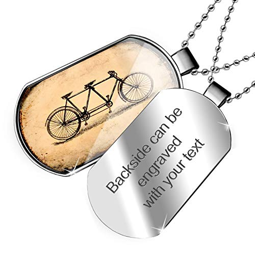 NEONBLOND Personalized Name Engraved Tandem Bicycle Dogtag Necklace