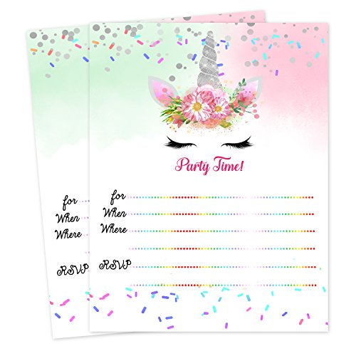 Unicorn Birthday Baby Shower Slumber Party Invitations Invites 20 count with envelopes