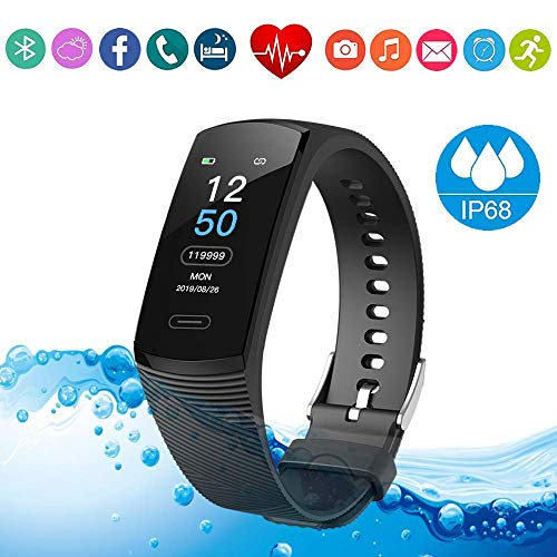 CECTDIGI K1 Fitness Tracker HR Smart Watch/Heart Rate Monitor Wristbands/IP68 Waterproof Bracelet/Sleep Monitor/Activity Step & Calorie Counter/Gifts for Kids Women Men (Black)