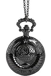 WZC Black Quartz Movement Communist Icon Pocket Watch
