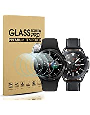 Diruite 4-pack för Samsung Galaxy Watch 4 Classic 46 mm (2021)/Galaxy Watch 3 45 mm (2020) skärmskydd i härdat glas [anti-repa] [2,5D 9H hårdhet]
