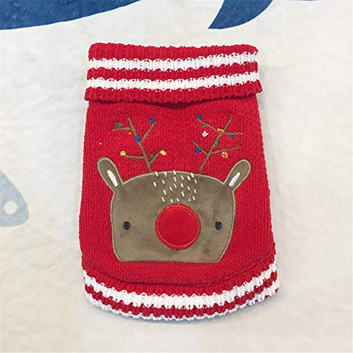 (Glumes Dog Clothes, Pet Clothing, Christmas Elk/Polar Bear Pattern Sweater Dog Round Neck Sweatshirts, Puppy Fashion Cute Soft Thickening Warm Vest PERFECT GIFT (S,)