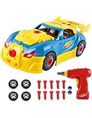 Toys for 3 year olds Boys & 4 year old Boy Gifts,CrossRace Take Apart Toy Car Racing-30 Take Apart Pieces With Realistic Sounds & Lights