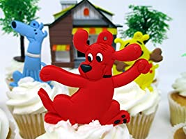 Strange Clifford The Big Red Dog Birthday Cake Cupcake Topper Set Personalised Birthday Cards Petedlily Jamesorg
