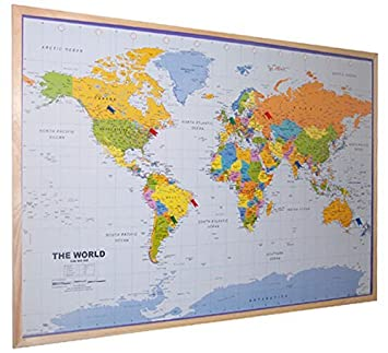 World pinboard wall map 90cm x 60cm real pine wood frame with easy world pinboard wall map 90cm x 60cm real pine wood frame with easy hang gumiabroncs Images