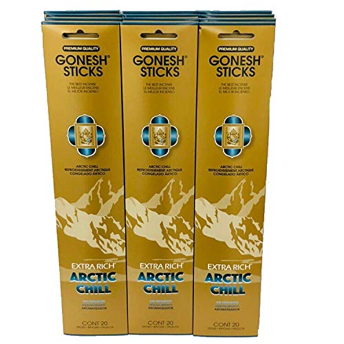Gonesh - 12 Arctic Chill Pack (240 Sticks) Incense Sticks Extra Rich -
